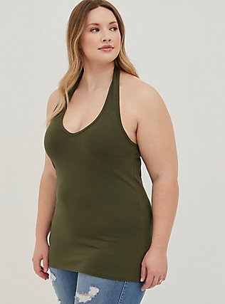 Olive Green Foxy Halter Top, DEEP DEPTHS, alternate