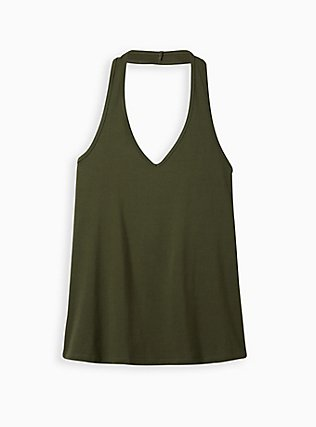 Olive Green Foxy Halter Top, DEEP DEPTHS, flat