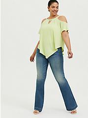 Neon Yellow Studio Knit Cold Shoulder Handkerchief Top, CUCUMBER WATER GREEN, alternate