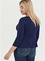 Super Soft Navy Surplice Peplum Midi Top, PEACOAT, alternate