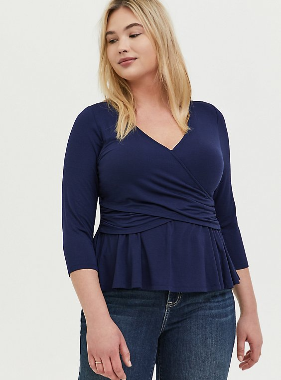 Plus Size Super Soft Navy Surplice Peplum Midi Top, , hi-res