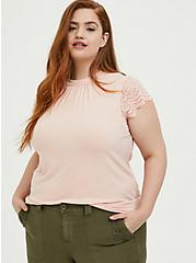 Peach Pink Studio Knit High Neck Lace Sleeve Top, PEACH MELBA, alternate