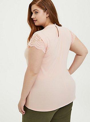 Peach Studio Knit High Neck Lace Sleeve Top, PEACH MELBA, alternate