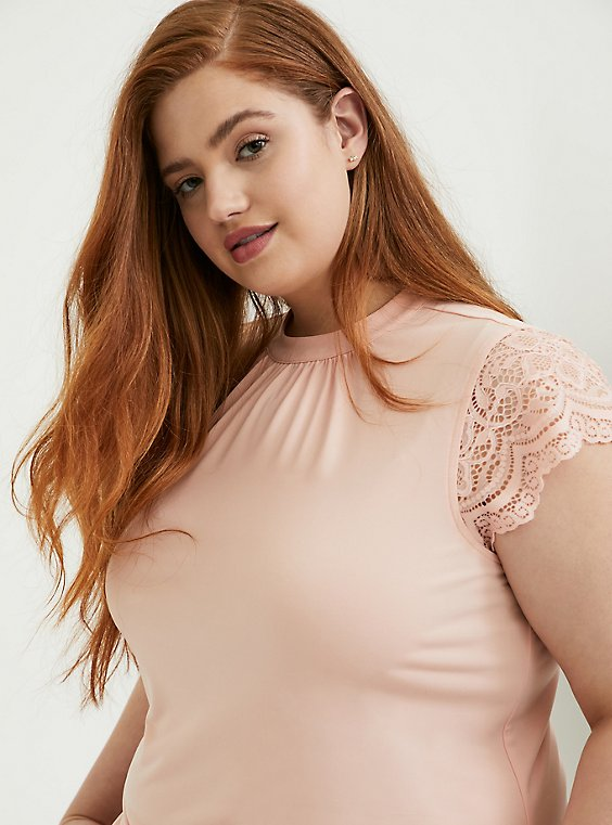 Plus Size Peach Studio Knit High Neck Lace Sleeve Top, , hi-res