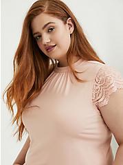 Peach Pink Studio Knit High Neck Lace Sleeve Top, PEACH MELBA, hi-res