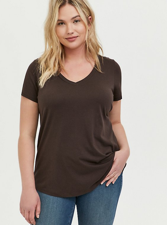 Classic Fit V-Neck Tee - Heritage Cotton Chocolate Brown, , hi-res