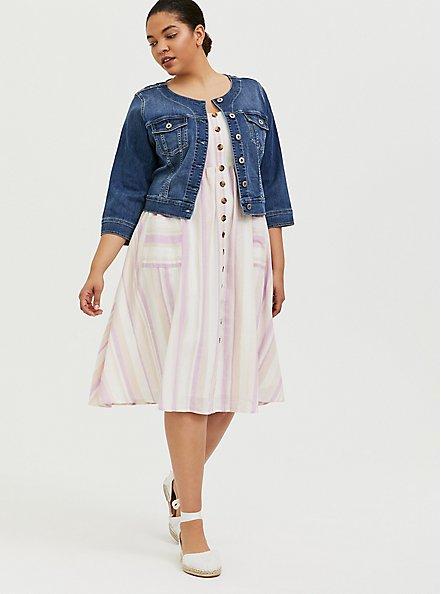 Plus Size Multi Stripe Linen Button Midi Dress, STRIPE - MULTI, alternate