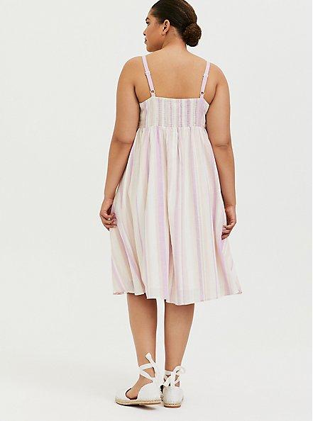 Multi Stripe Linen Button Midi Dress, STRIPE - MULTI, alternate