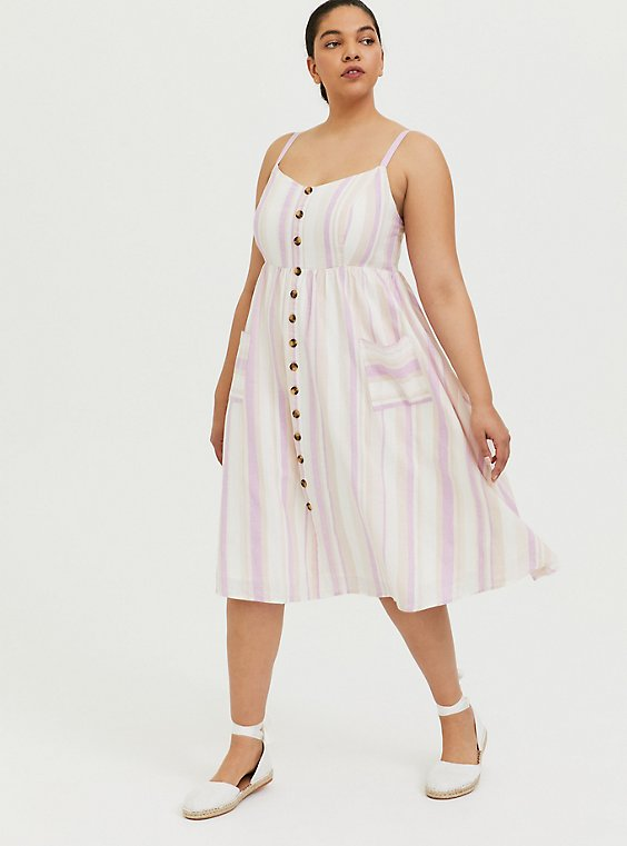 Plus Size Multi Stripe Linen Button Midi Dress, , hi-res