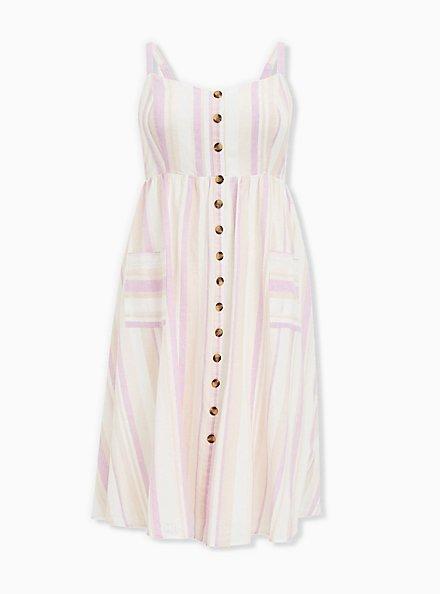 Plus Size Multi Stripe Linen Button Midi Dress, STRIPE - MULTI, hi-res