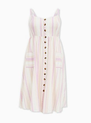 Plus Size Multi Stripe Linen Button Midi Dress, STRIPE - MULTI, ls