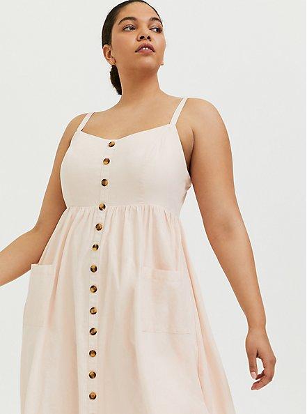 Light Pink Linen Button Midi Dress, PEACH BLUSH, alternate