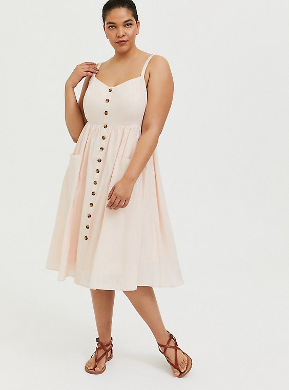 Plus Size Light Pink Linen Button Midi Dress, , hi-res