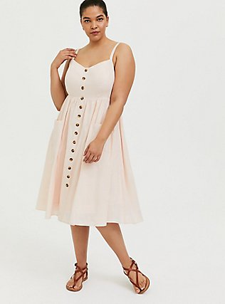 Light Pink Linen Button Midi Dress, PEACH BLUSH, hi-res