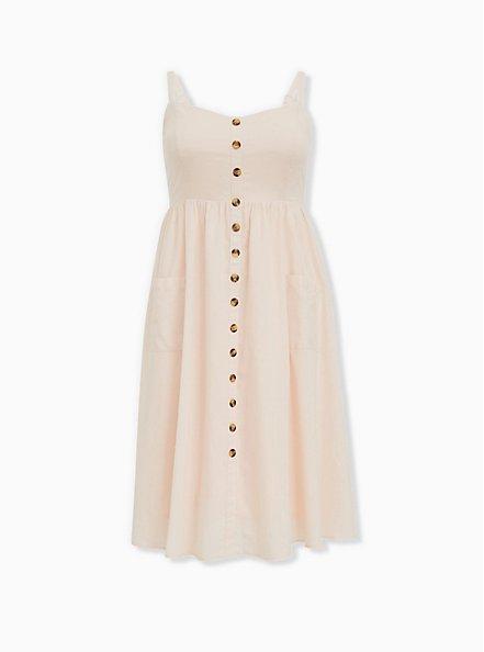 Light Pink Linen Button Midi Dress, PEACH BLUSH, hi-res