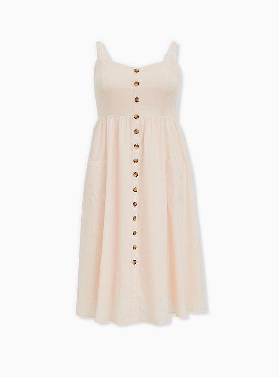 Plus Size Light Pink Linen Button Midi Dress, PEACH BLUSH, ls