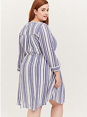 Blue & White Stripe Zip Front Drawstring Shirt Dress, STRIPE - BLUE, alternate