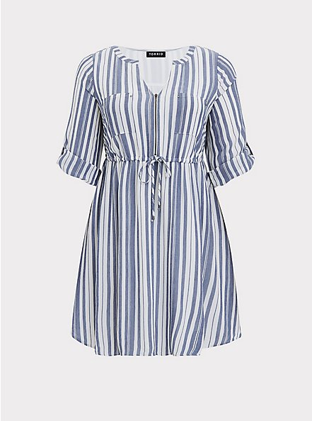 Blue & White Stripe Zip Front Drawstring Shirt Dress, STRIPE - BLUE, hi-res