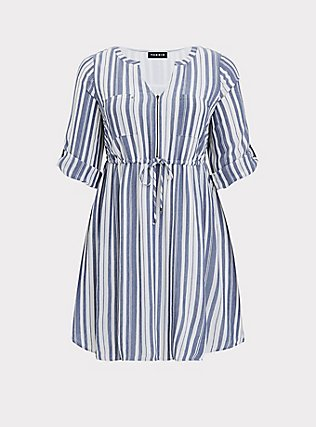 Plus Size Blue & White Stripe Zip Front Drawstring Shirt Dress, STRIPE - BLUE, flat