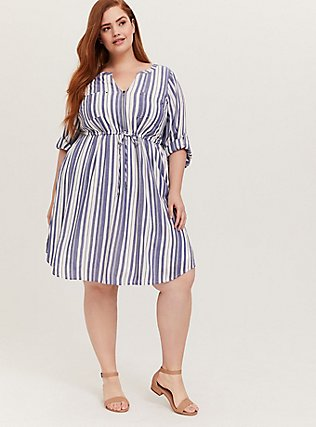Plus Size Blue & White Stripe Zip Front Drawstring Shirt Dress, STRIPE - BLUE, hi-res