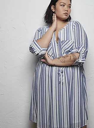 Plus Size Blue & White Stripe Zip Front Drawstring Shirt Dress, STRIPE - BLUE, pdped