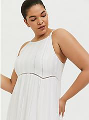 White Stripe Gauze Shirred Hem Maxi Dress, STRIPE - WHITE, alternate