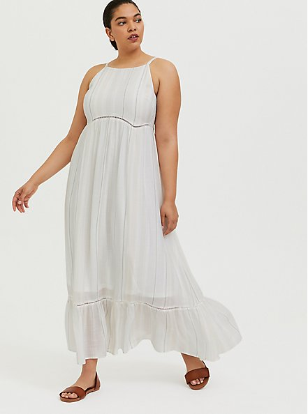 Plus Size White Stripe Gauze Shirred Hem Maxi Dress, STRIPE - WHITE, hi-res