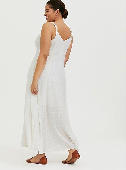 Plus Size Ivory Textured Trapeze Maxi Dress, CLOUD DANCER, alternate