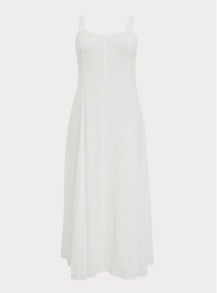 Plus Size Ivory Textured Trapeze Maxi Dress, CLOUD DANCER, hi-res