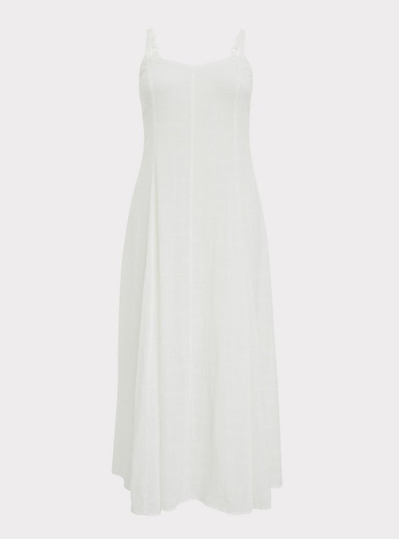 Ivory Textured Trapeze Maxi Dress, , flat