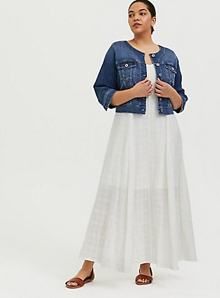 Plus Size Ivory Textured Trapeze Maxi Dress, CLOUD DANCER, hi-res