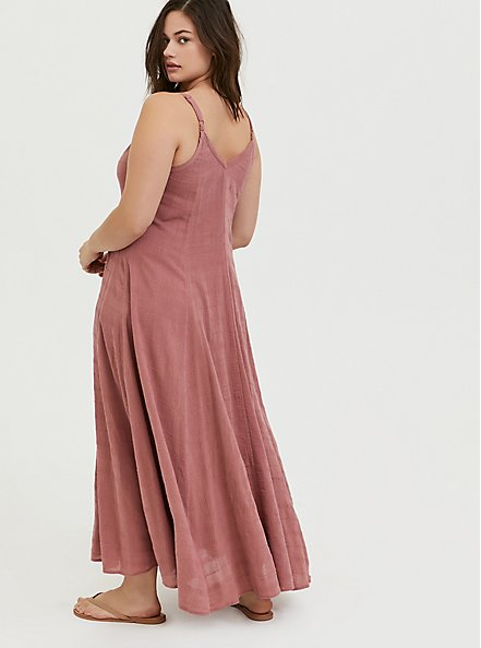 Dusty Rose Textured Trapeze Maxi Dress, WITHERED ROSE PINK, alternate