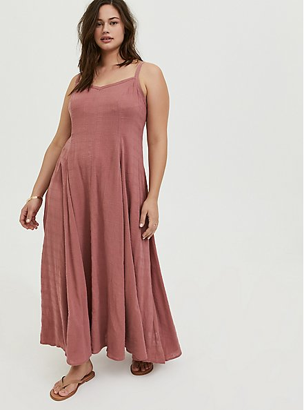 Dusty Rose Textured Trapeze Maxi Dress, WITHERED ROSE PINK, hi-res