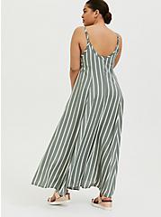Light Olive Green Stripe Challis Trapeze Maxi Dress, STRIPE - GREEN, alternate