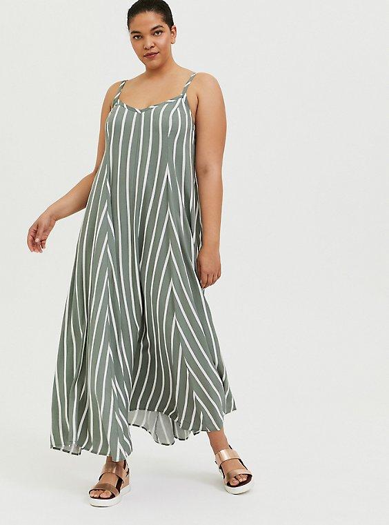 Light Olive Green Stripe Challis Trapeze Maxi Dress, , hi-res
