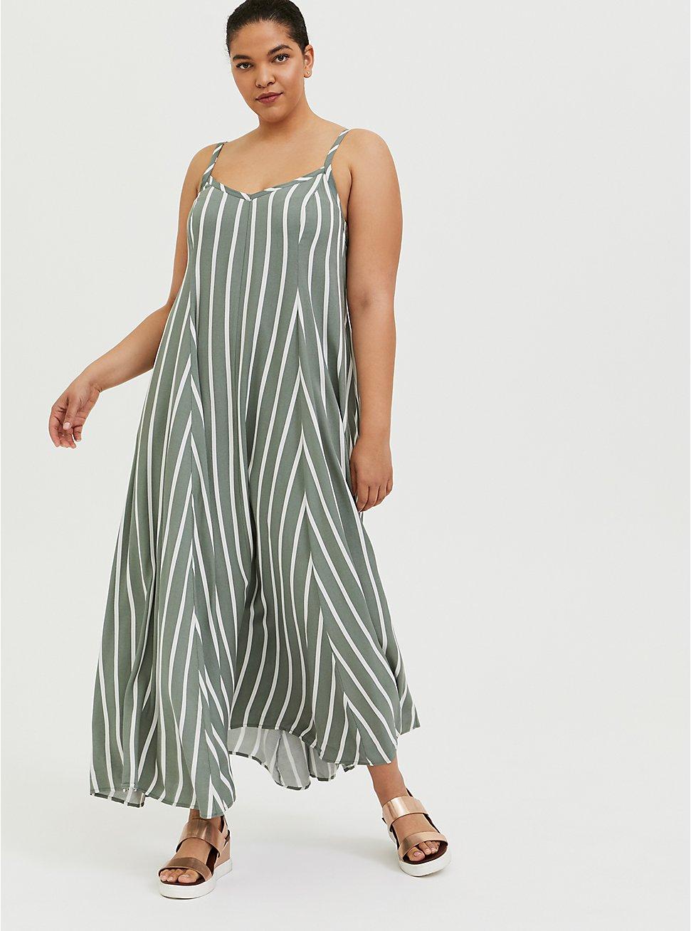 Light Olive Green Stripe Challis Trapeze Maxi Dress, STRIPE - GREEN, hi-res