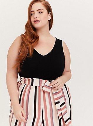 Black & Multi Stripe Textured Self Tie Culotte Jumpsuit, STRIPE-BLACK, alternate