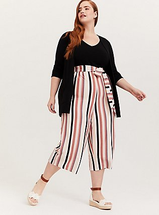 Plus Size Black & Multi Stripe Textured Self Tie Culotte Jumpsuit, STRIPE-BLACK, alternate