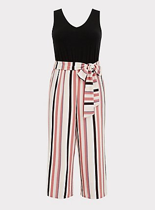 Plus Size Black & Multi Stripe Textured Self Tie Culotte Jumpsuit, STRIPE-BLACK, flat