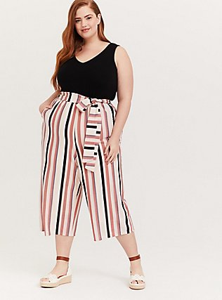Plus Size Black & Multi Stripe Textured Self Tie Culotte Jumpsuit, STRIPE-BLACK, hi-res
