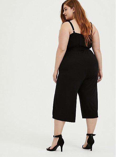 Black Super Soft Black  Self Tie Culotte Jumpsuit, DEEP BLACK, alternate