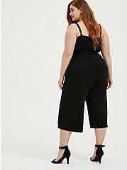 Super Soft Black  Self Tie Culotte Jumpsuit, DEEP BLACK, alternate