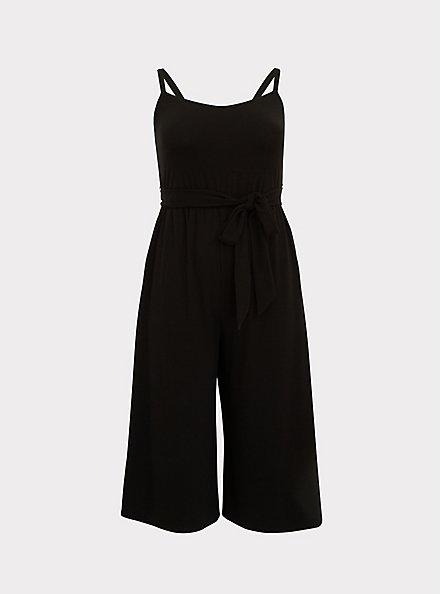 Black Super Soft Black  Self Tie Culotte Jumpsuit, DEEP BLACK, hi-res