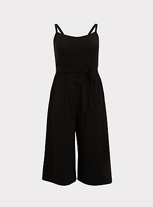 Black Super Soft Black  Self Tie Culotte Jumpsuit, DEEP BLACK, flat