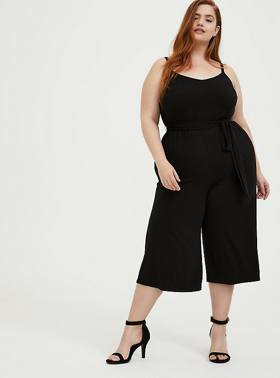 Plus Size Black Super Soft Black  Self Tie Culotte Jumpsuit, , hi-res