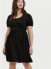 Black Challis Lace-Up Waist Skater Dress, DEEP BLACK, alternate