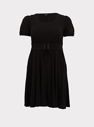 Black Challis Lace-Up Waist Skater Dress, DEEP BLACK, flat