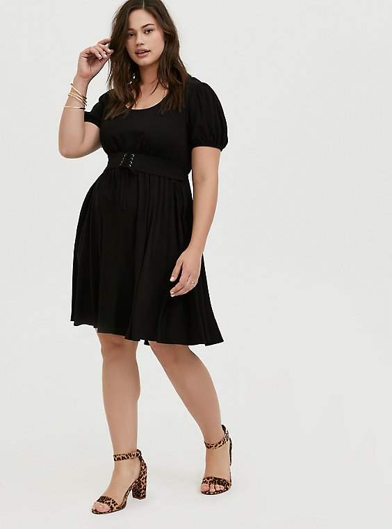 Black Challis Lace-Up Waist Skater Dress, , hi-res