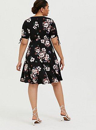 Black Floral Studio Knit Drawstring Sleeve Dress, FLORALS-BLACK, alternate