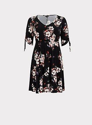 Black Floral Studio Knit Drawstring Sleeve Dress, FLORALS-BLACK, flat
